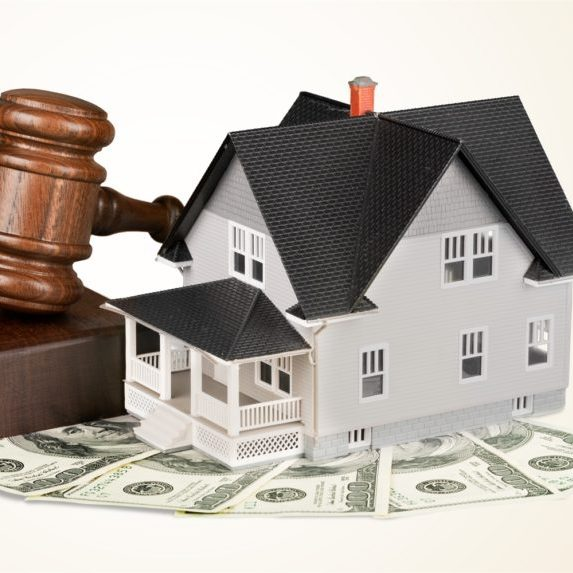 Property Tax Assistance - House with Gavel and Money